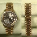 W# 18k y gold ladies president silver diamond dial /diamond bezel T serial number excellent condition box and books