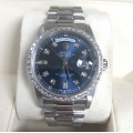 W#011 Planium double quickset president Rolex blue diamond dial/ diamond bezel trade in special $21,950.00