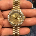 W#008 Ladies 18k yellow gold presidential Rolex Watch quickset sapphire crystal - diamond string dial and diamond bezel $7995.00