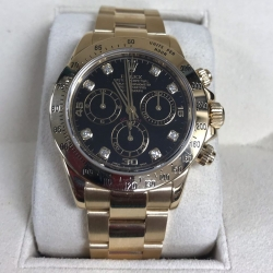W#018 18k y gold Daytona Rolex watch factory black diamond dial engraved bezel box/books excellent condition