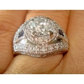 R#116 Ladies 14k w/gold Diamond and Blue Sapphire Custom Wedding RIng $4550.00