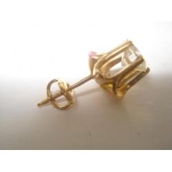 E#020 (1) 14K Y/GOLD 0.75ct DIAMOND ROUND STUD EARRING