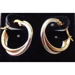 E#004 14k two tone fashion gold earrings (small hoops) $60.00