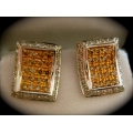E#026 Ladies 18k White & Yellow Gold Fashion Earrings (Light Fancy Brown Diamonds) $900.00
