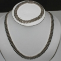 SN#001 LADIES STERLING SILVER NECKLACE & BRACELET SET
