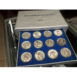"C#01 Kirk Sterling 12 Medallion Coins ""The Magic Of Disney"" 1973-1974 Collection In Case $2200.00"