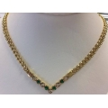 N#017 14k yellow gold Fashion Necklace (Emerald & Diamonds) $1995.00