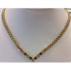 N#017 14k yellow gold Fashion Necklace (Emerald & Diamonds) $1995.00