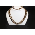 "PN#15 2pc set tiger eye  14k y gold clasp  7"" bracelet 32"" necklace