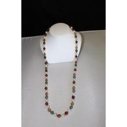 "PN#01 31"" multi color necklace 7mm beads 14k y gold clasp  $300.00"