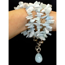 "PB#04 9 1/2"" light blue coral bracelet sterling silver $200.00"