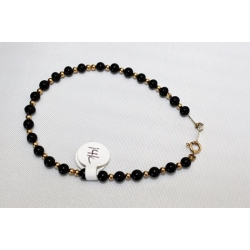 "PB#2 14k y gold black and gold ball bracelet 7"" $99.00"