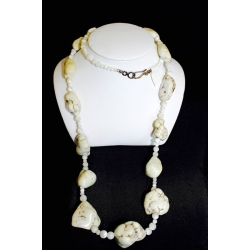 "PN#14 36"" white rock and white pearl necklace w/ silver clasp $300.00"