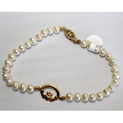 "PB#1 14k y gold 5mm pearls bracelet 8.5"" long $195.00"