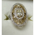 R#207 18k two tone fashion Diamond Ring (0.64ct Oval VS-2)