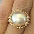R#009 14k yellow gold Pearl fashion ring with diamonds