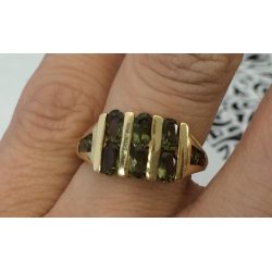 R#103 ladies 14k yellow gold (green emerald) fashion Ring