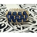R#201 14k yellow Gold Fashion Ring (blue sapphires & Diamonds)