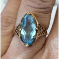 R#200 Ladies 14k yellow gold fashion Ring (Blue Topez)