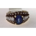 R#168 18K Y GOLD BLUE SAPPHIRE FASHION RING