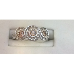 R#073 14K W GOLD PAST/PRESENT/ FUTURE RING (CHOCOLATE DIAMONDS)