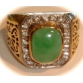 R#149 14K Y GOLD JADE FASHION RING W/ WHITE SAPPHIRES