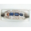 R#024 LADIES 14K W/GOLD BLUE SAPPHIRES & DIAMONDS FASHION RING $850.00