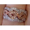 R#002 LADIES 14K ROSE & WHITE GOLD FASHION HEART RING (1.00 ct)  $750.00