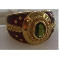 R#025 LADIES 14K Y/GOLD GREEN SAPPHIRE FASHION RING  $750.00