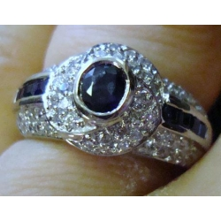 R#014 LADIES 18K W/GOLD BLUE SAPPHIRE & DIAMOND FASHION RING  $900.00