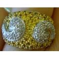 R#015 LADIES 14K TUTONE/GOLD YELLOW & WHITE DIAMOND FASHION RING  $800.00