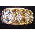 R#041 LADIES 14K Y/GOLD YELLOW SAPPHIRES & DIAMONDS FASHION RING $595.00