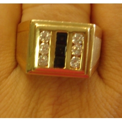 R#068 MEN'S BLUE SAPPHIRE & DIAMOND FASHION RING $900.00