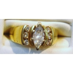 R#198 14K Y/ GOLD ENGAGEMENT AND WEDDING RING