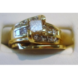 R#119 LADIES 14K Y GOLD (1.50ct) ENGAGEMENT OR WEDDING RING (2pc) $1800.00
