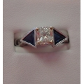 R#109 Ladies 14k White Gold Diamond & Sapphire Wedding or Engagement Ring  $1850.00