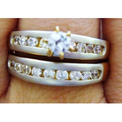 R#196 LADIES 18K TUTONE GOLD ENGAGEMENT RING SET (2PC) 1.25cts TOTAL
