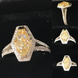 R# 18k white Gold Natural fancy yellow (center stone 2.00ct) VVS $8950.00
