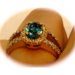 R#049 LADIES 14K Y/GOLD ENGAGEMENT/WEDDING RING ~1.27cts. BLUE DIA. OVAL