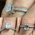 R# 14k white gold engagement ring center stone .88cts emerald modified brilliant cut diamond clarity VVS2 color H mounting also contains 32 round diamonds 1.18cts vs2-si1 total weight in grams 3.2 retail replacement value GIA $7500.00 asking $4950.00