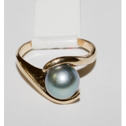 R# LADIES 14K Y GOLD BLUE PEARL FASHION RING