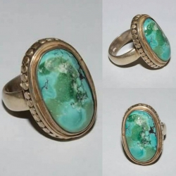 SR#001 LADIES STERLING SILVER & TURQUOISE FASHION RING  12.7g
