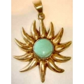 SP#005 LADIES STERLING SILVER & TURQUOISE FASHION PENDANT (SUN)