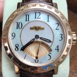 W#10 Dewitt Academia Seconde Retrograde Rose gold  Mother of pearl dial  Brown leather Dewitt strap $7,450.00