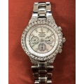 W#22 MENS STAINLESS BREITLING HERCULES WATCH W/ CUSTOM DIAMONDS