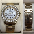 W#44 Rolex Yacht Master 18k yellow gold M serial Custom 10 ct Diamond bezel $23,500.00