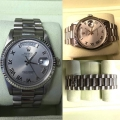 W#23 Men's 18k white Gold double quick president Rolex Watch -silver Roman numerial dial - excellent condition $11,950.00