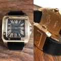 W#33 Cartier Santos Rose Gold on black leather strap  Box & blank papers $15,950.00