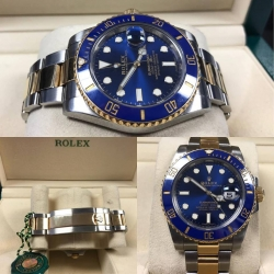 W#01 men's two tone blue ceramic submariner Rolex Watch bought new 2017 box/card/books asking $12,950.00