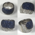 Ladies 18k white Gold fashion ring diamond and sapphires corundum designer (Damiani) 22.7 grams 89 round brilliant cut diamonds 1.00cts total 97 round faceted sapphires approx 2.50cts retail replacement value $10,500.00 gia certifiable asking $2950.00